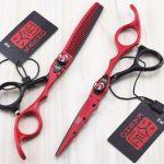 Kéo cắt tóc kasho đỏ đen -2